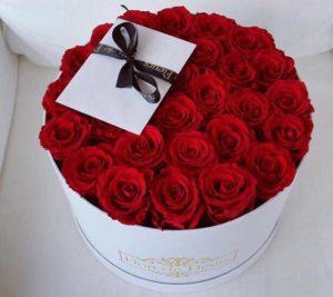 Flores a domicilio -Caja con 25 rosas Rojas