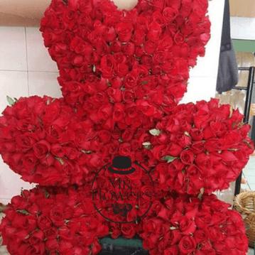 Hermoso Oso | 550 Rosas Rojas en forma de Oso