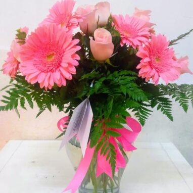 Jarrón con 6 Gerberas y 6 Rosas