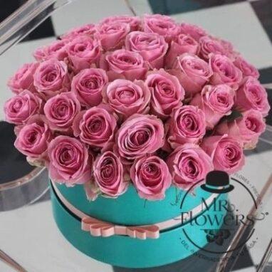 arreglo tiffany con 50 rosas rosadas