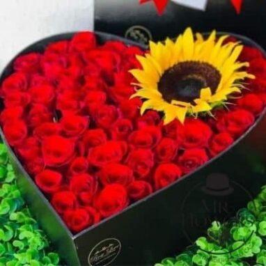 Girasol Enamorado 50 rosas y girasol