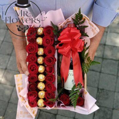 Rosas rojas Chocolates y Vino